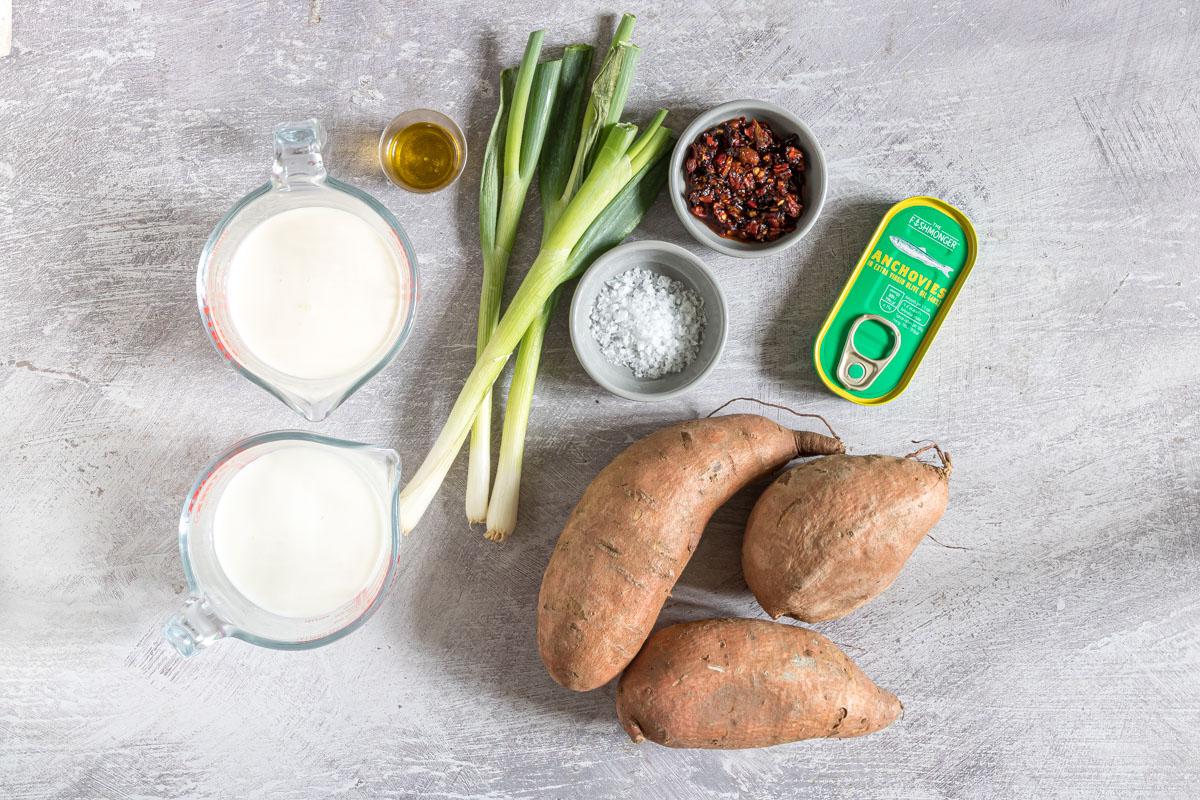 Ingredients to make sweet potato gratin