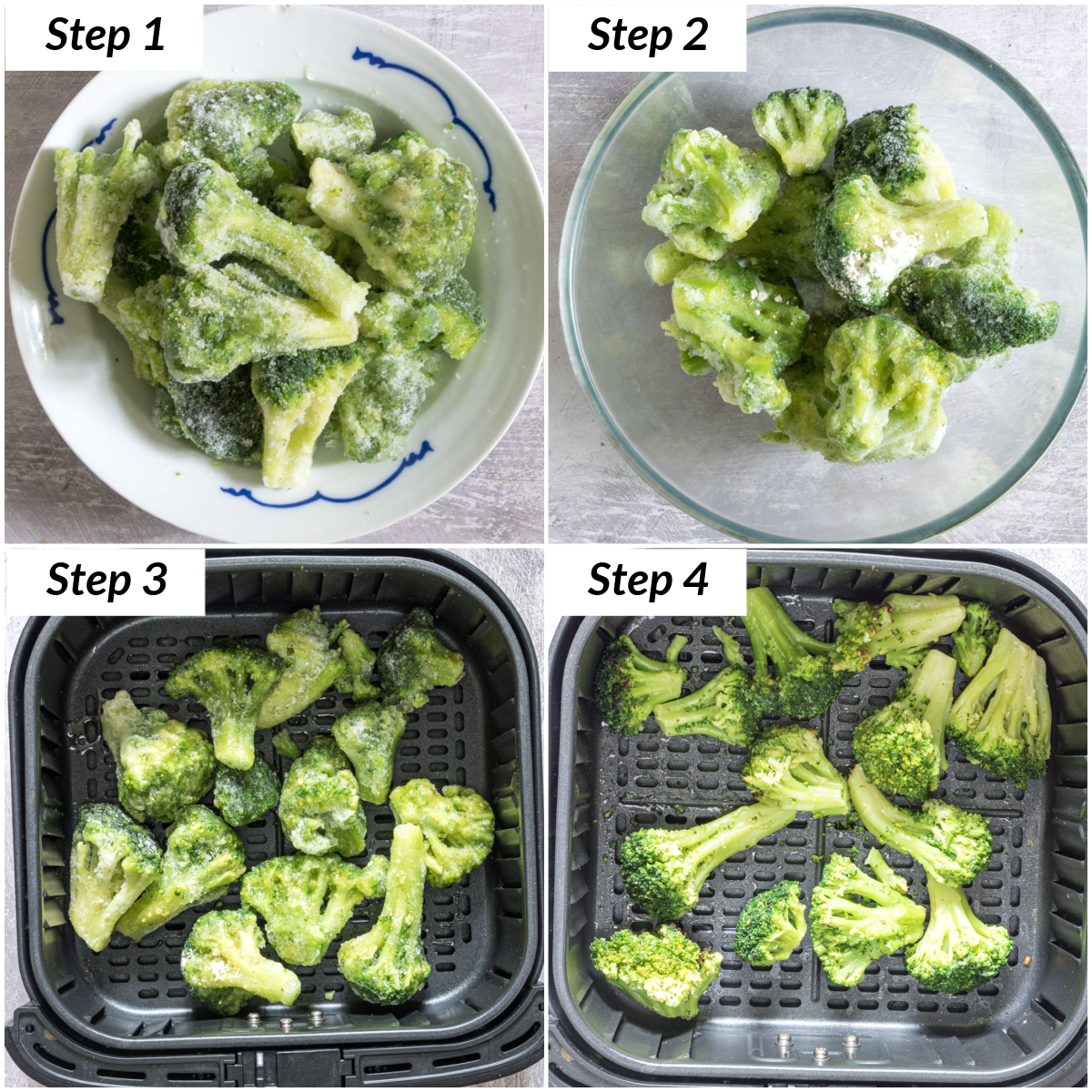 image collage showing how to make frozen broccoli in air fryer