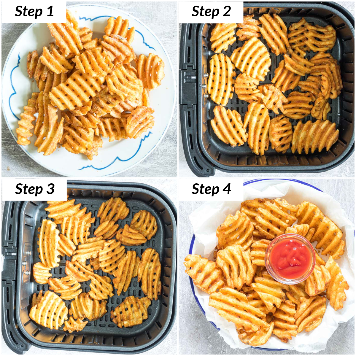 image collage showing the steps for making frozen waffle fries in air fryer
