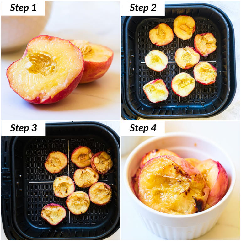 image collage showing how to make air fryer frilled peaches