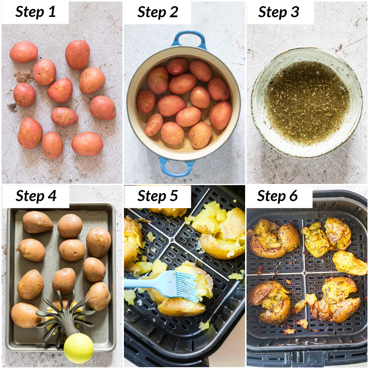 image collage showing the steps for making air fryer smashed potatoes