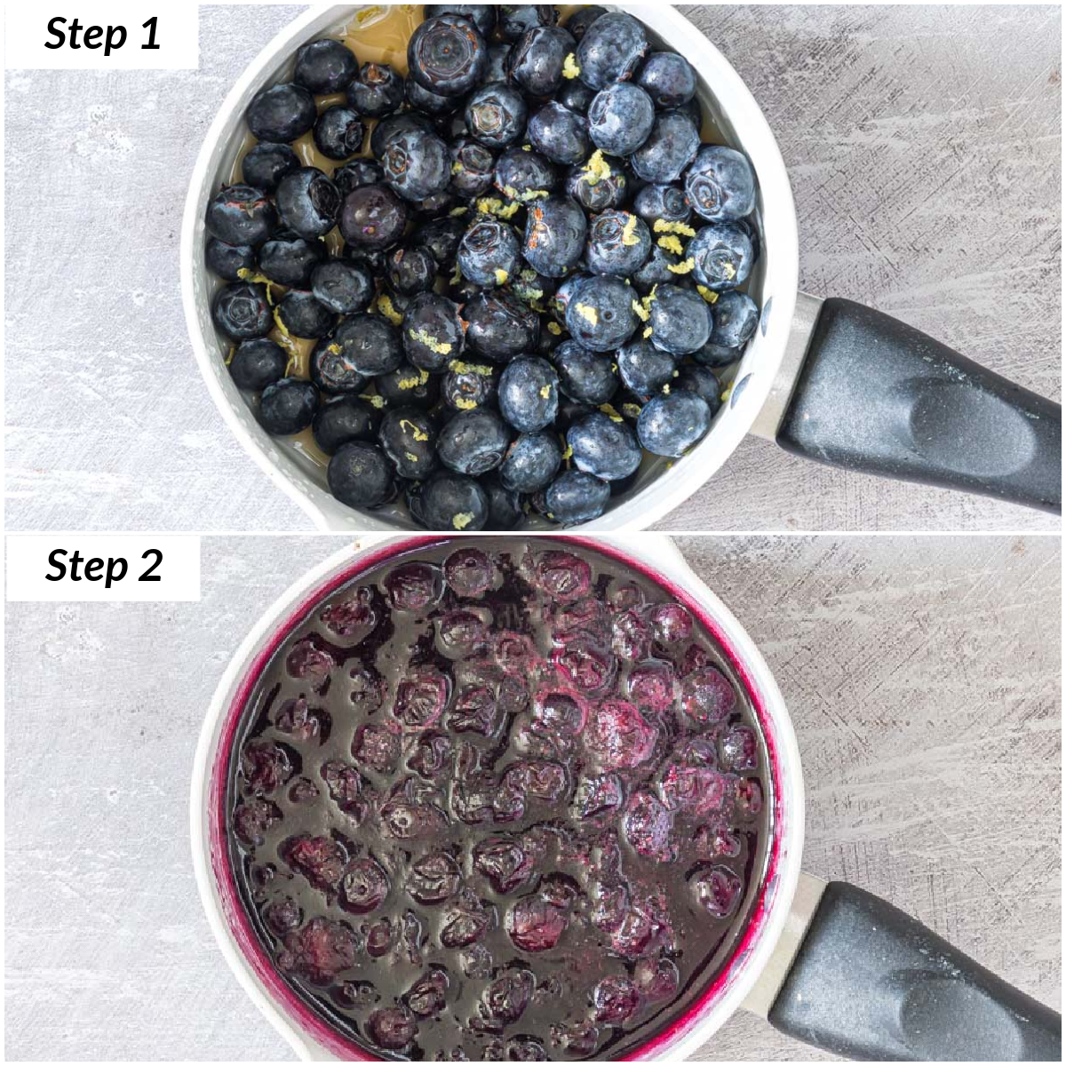 image collage showing the steps for making blueberry compote on the stovetop