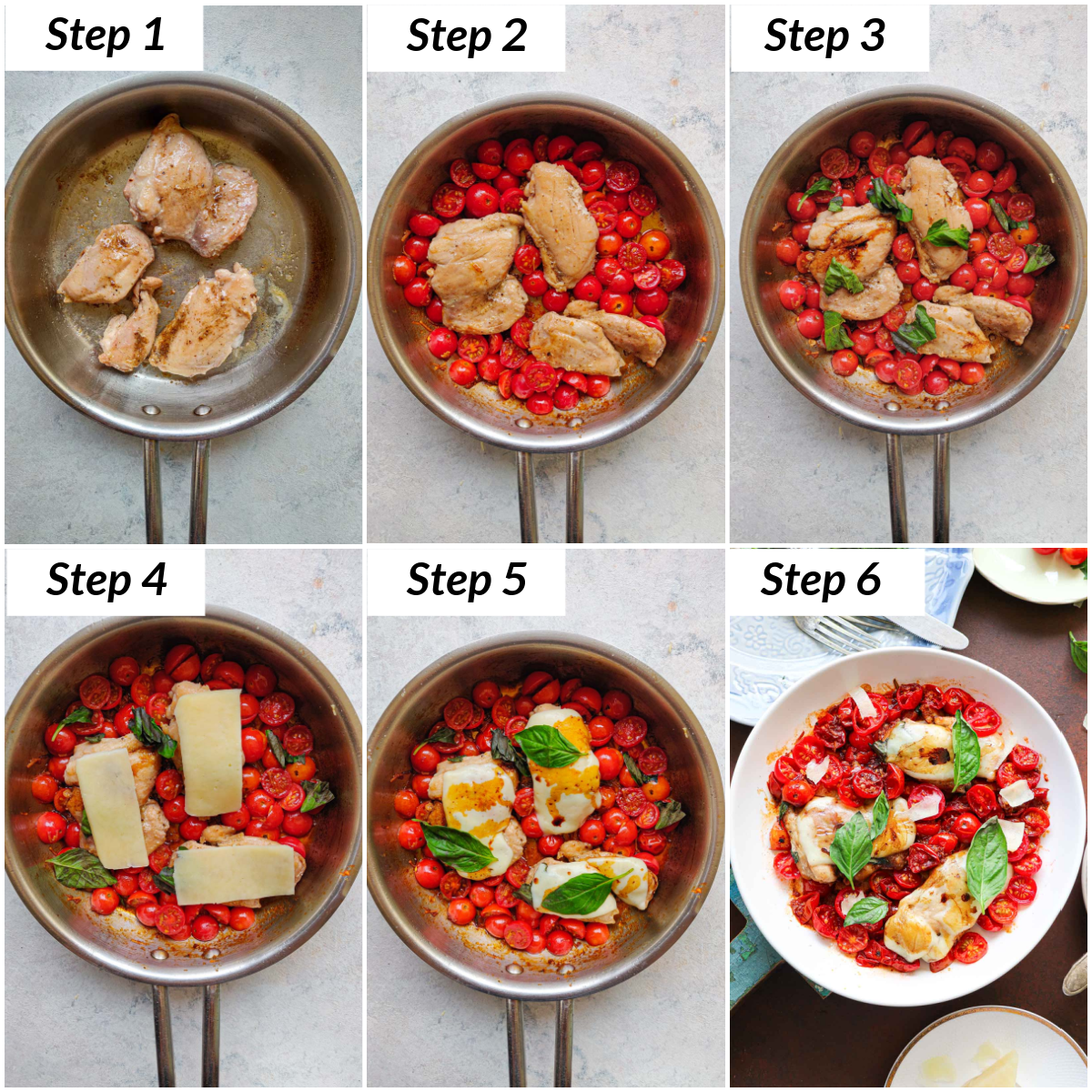 image collage showing the steps for making caprese chicken