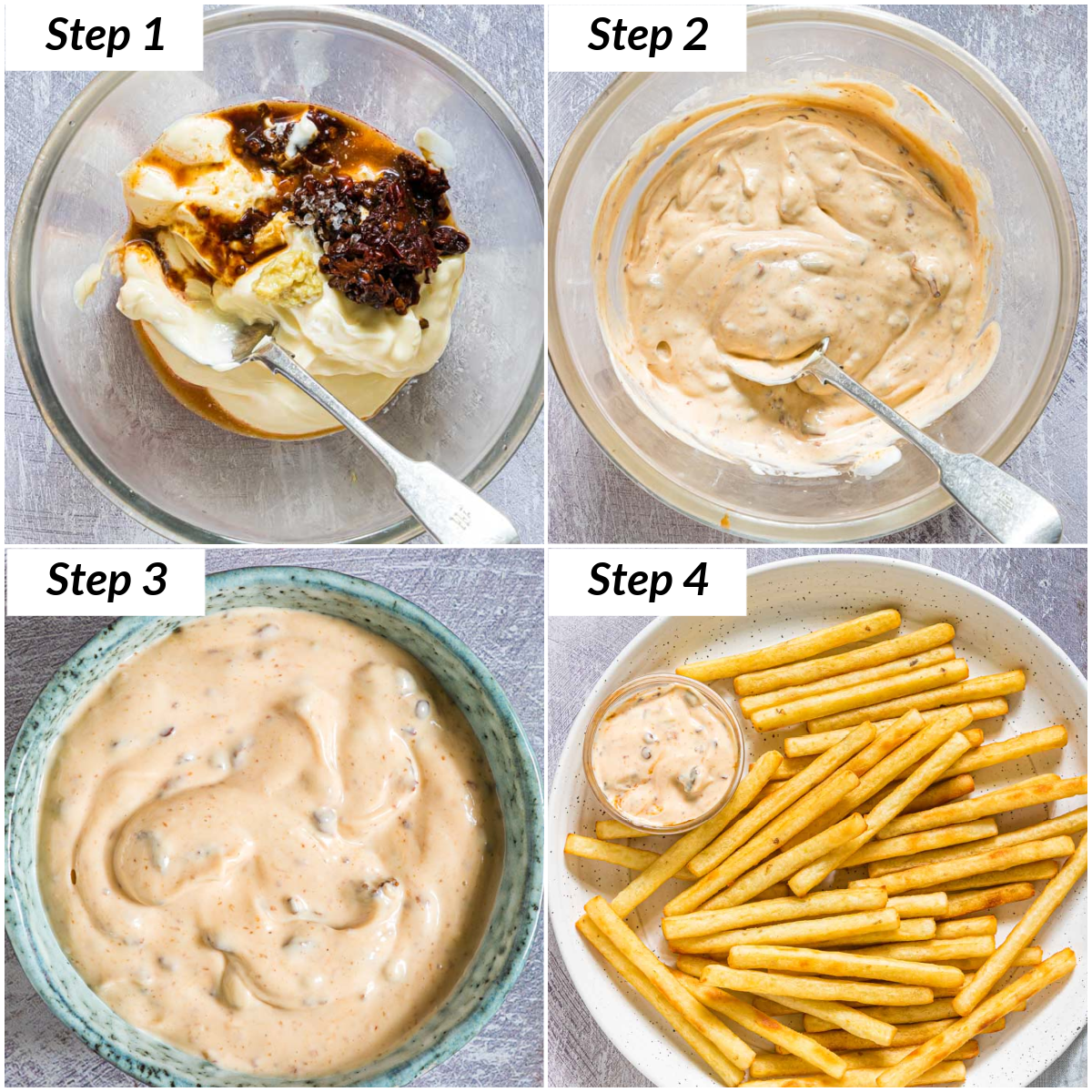 image collage showing the steps for how to make chipotle aioli