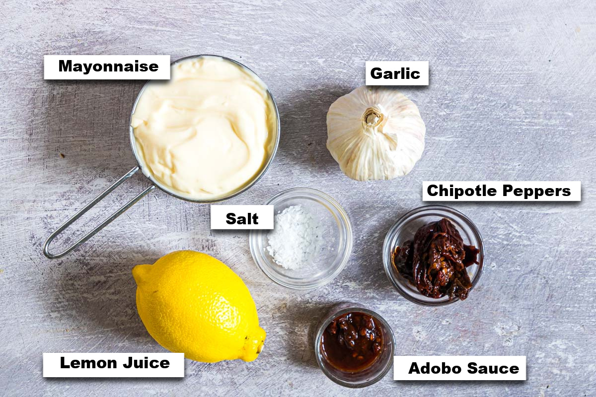 the ingredients needed for making chipotle aioli sauce