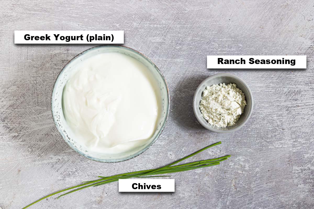 the ingredients for making Greek Yogurt Dip
