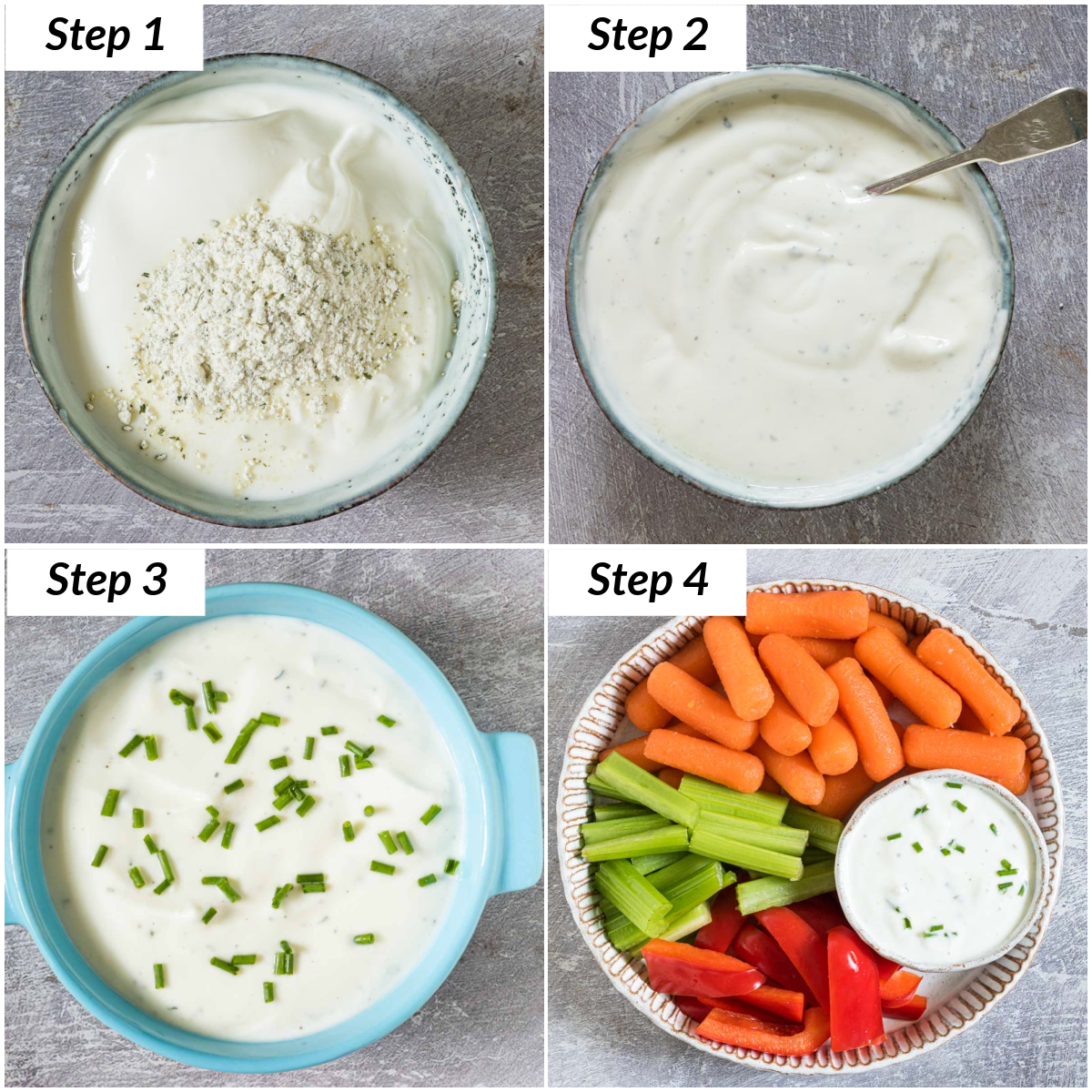 image collage showing the steps for making Ranch yogurt dip