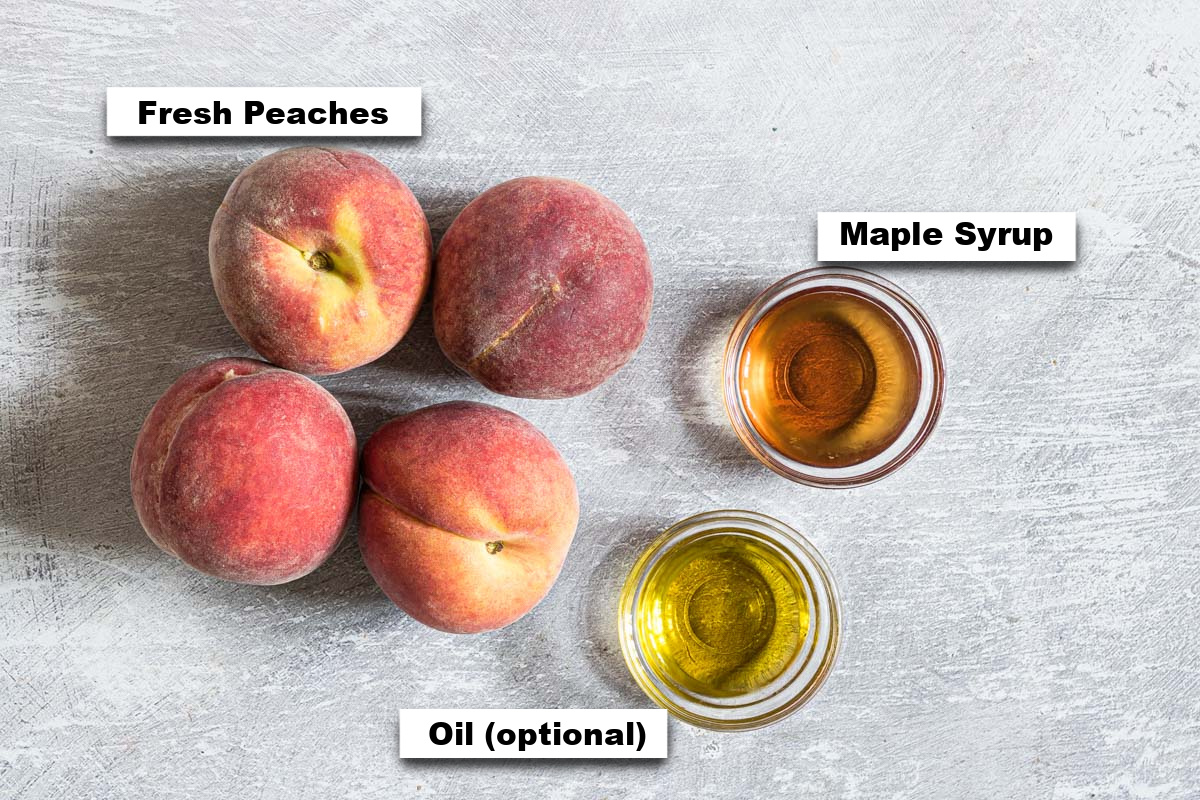 the ingredients needed for making grilled peaches