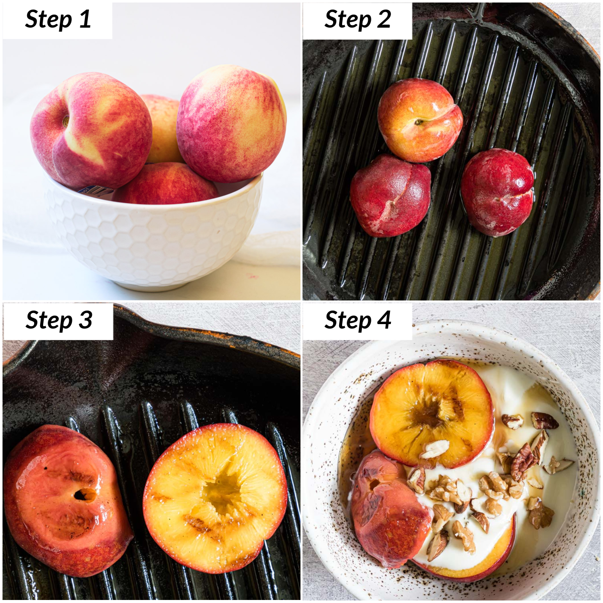 image collage showing the steps for making grilled peaches