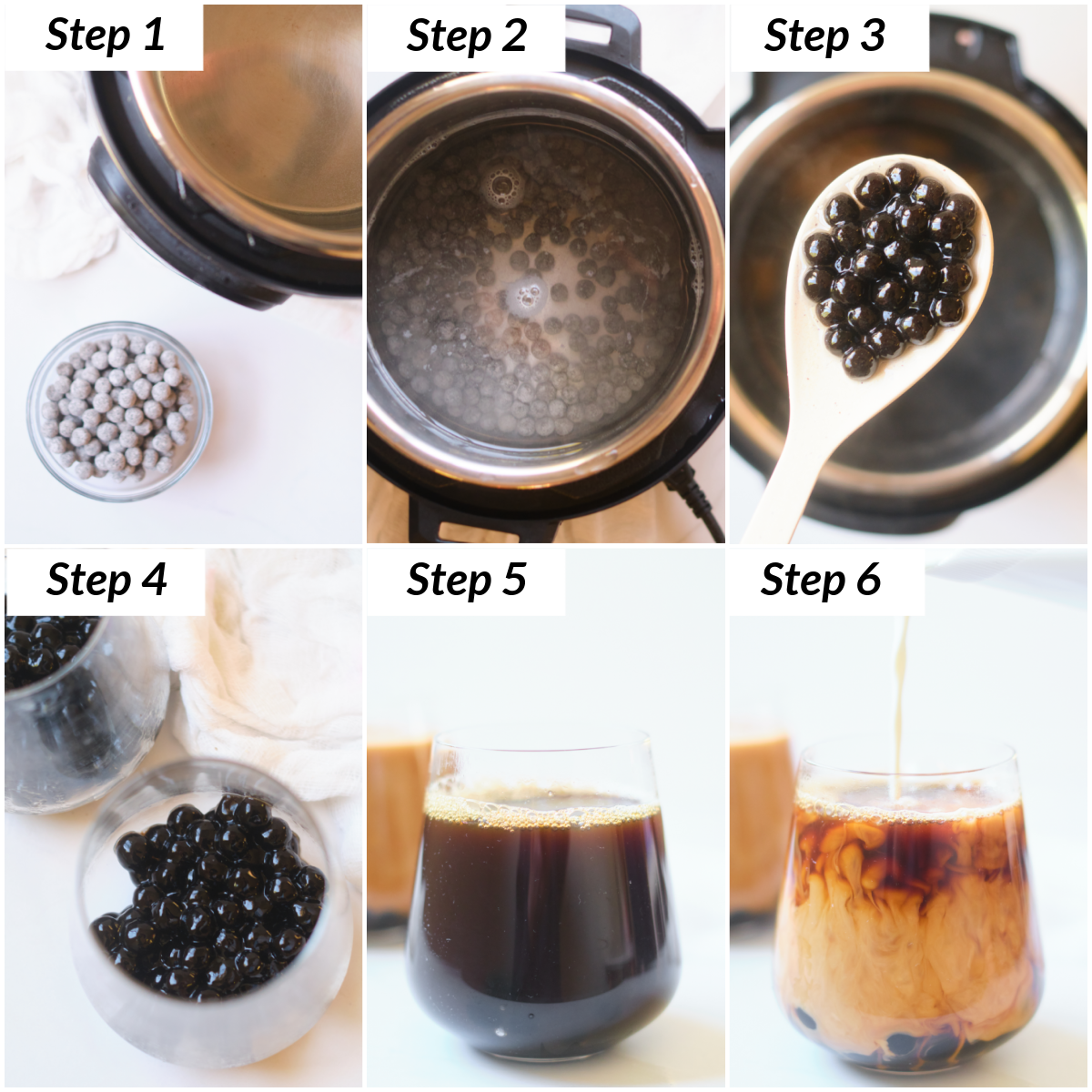 image collage showing the steps for making instant pot iced boba coffee
