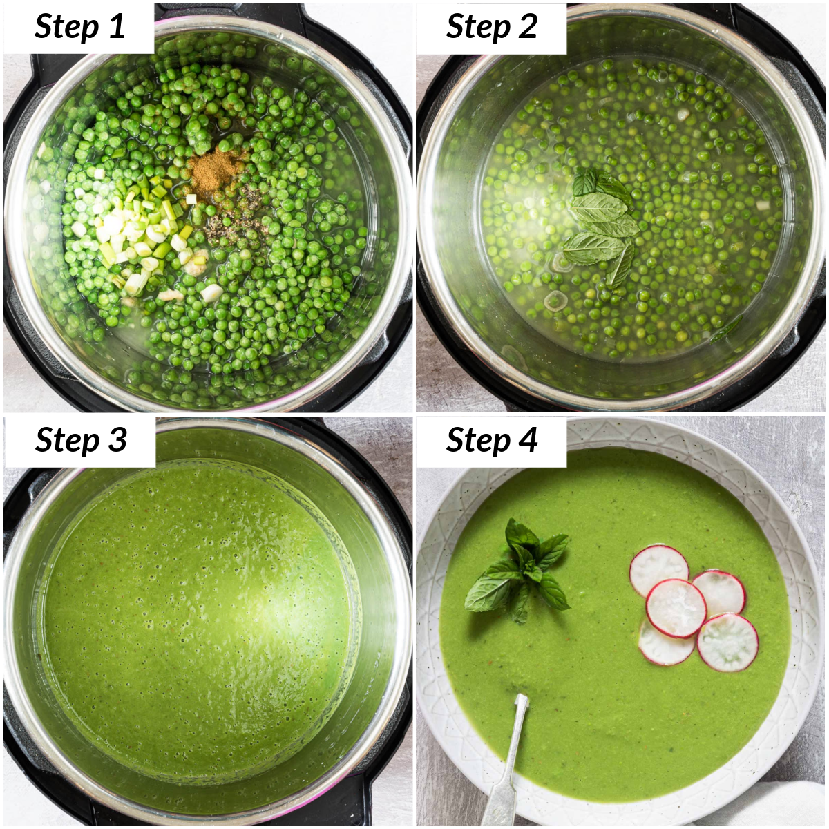 image collage showing the steps for making instant pot pea soup