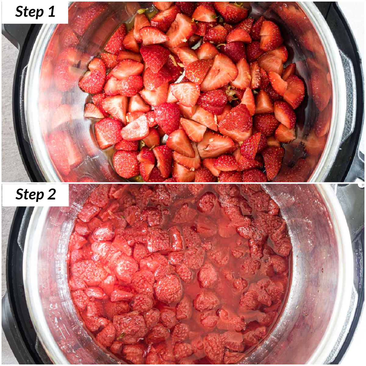 image collage showing the steps to make instant pot strawberry compote