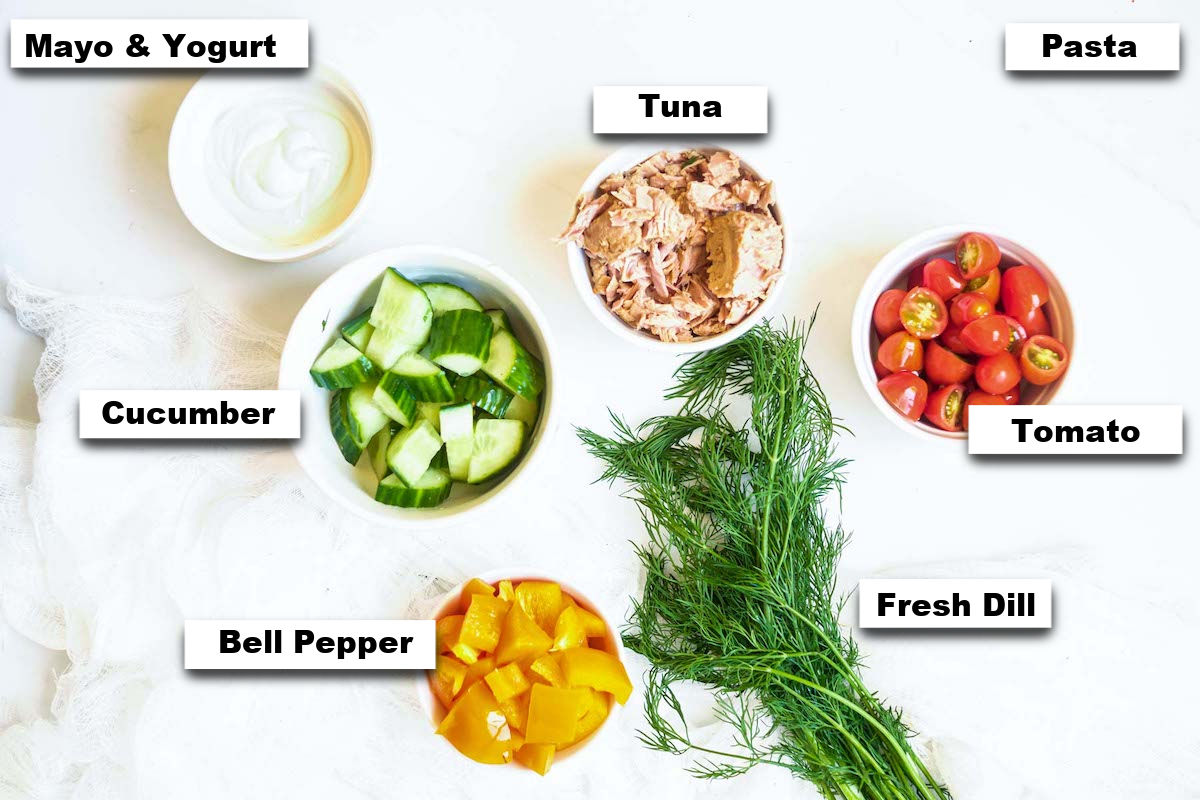 the ingredients needed for making tuna pasta salad