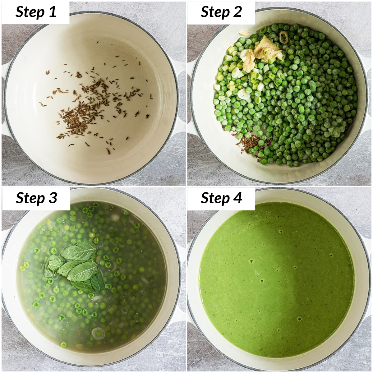 image collage showing the steps for making pea soup