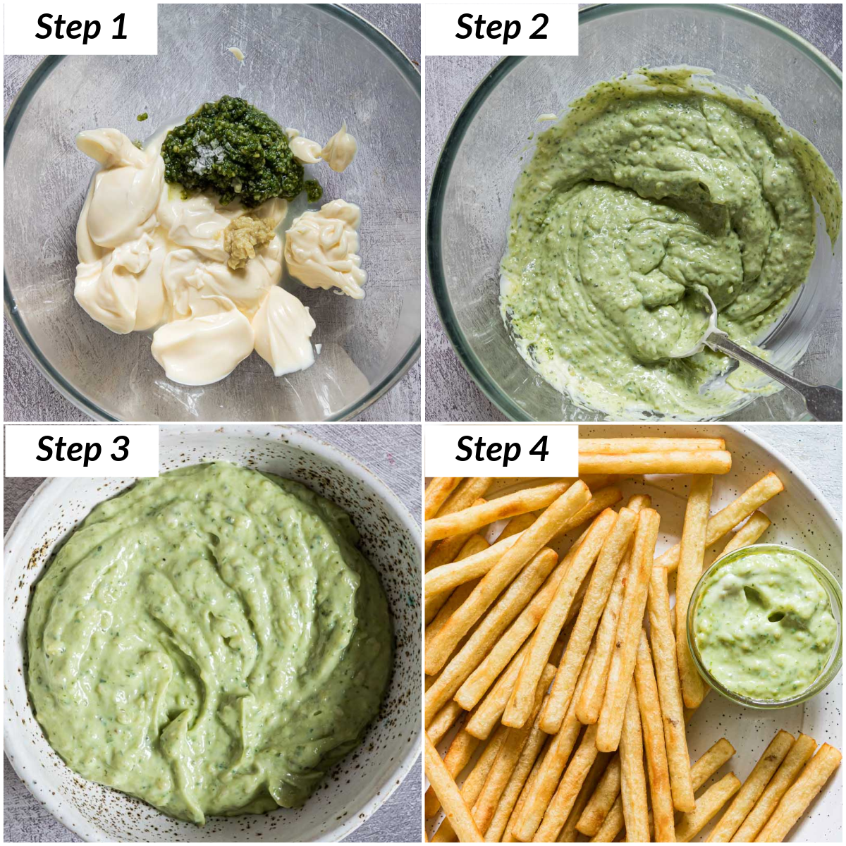 image collage showing the steps for making pesto aioli