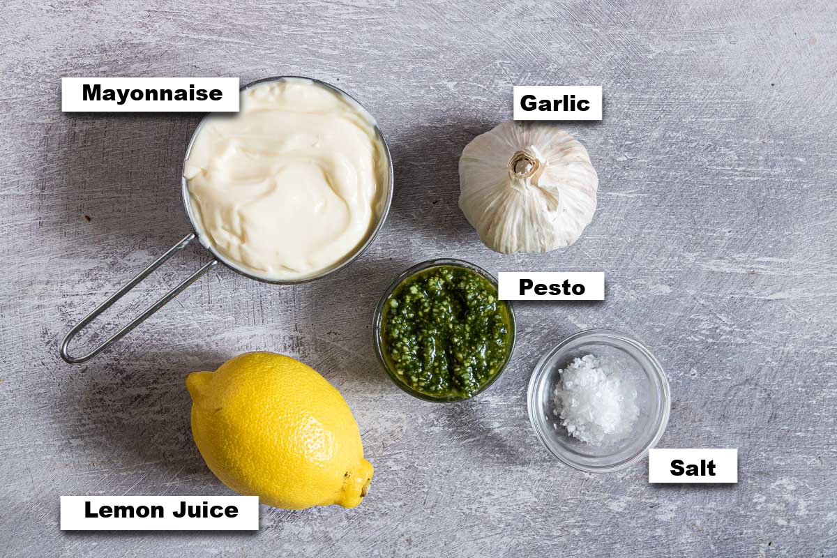 the ingredients needed for making this pesto aioli recipe