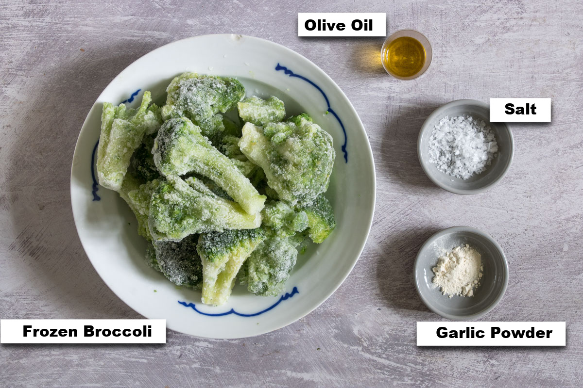 the ingredients needed to make frozen broccoli in air fryer