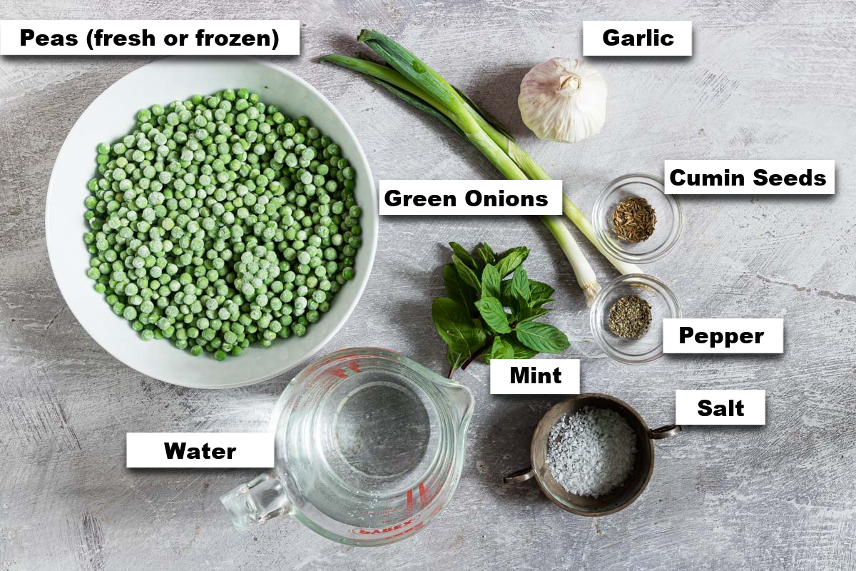 the ingredients needed for making split pea soup