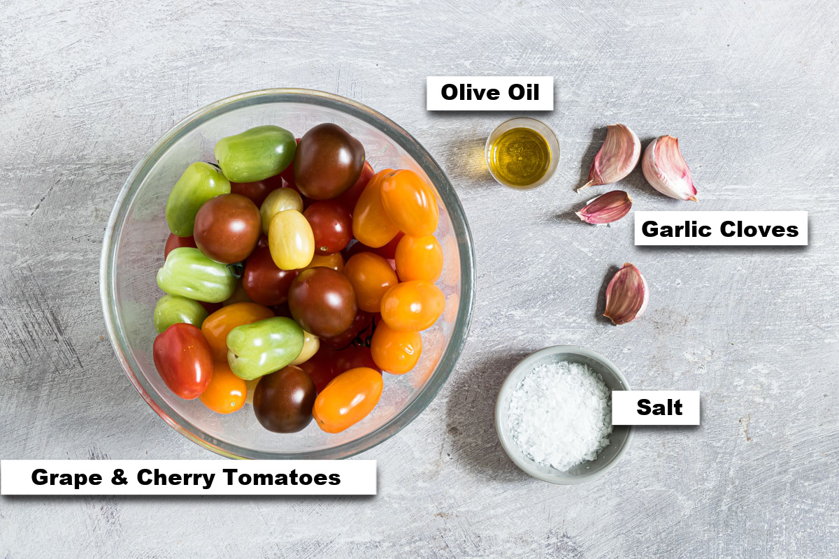 the ingredients needed for making slow roasted tomatoes