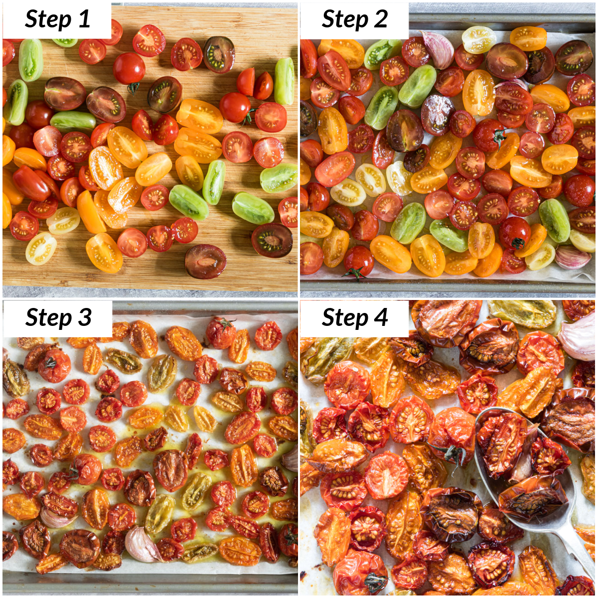 image collage showing the steps for making slow roasted tomatoes