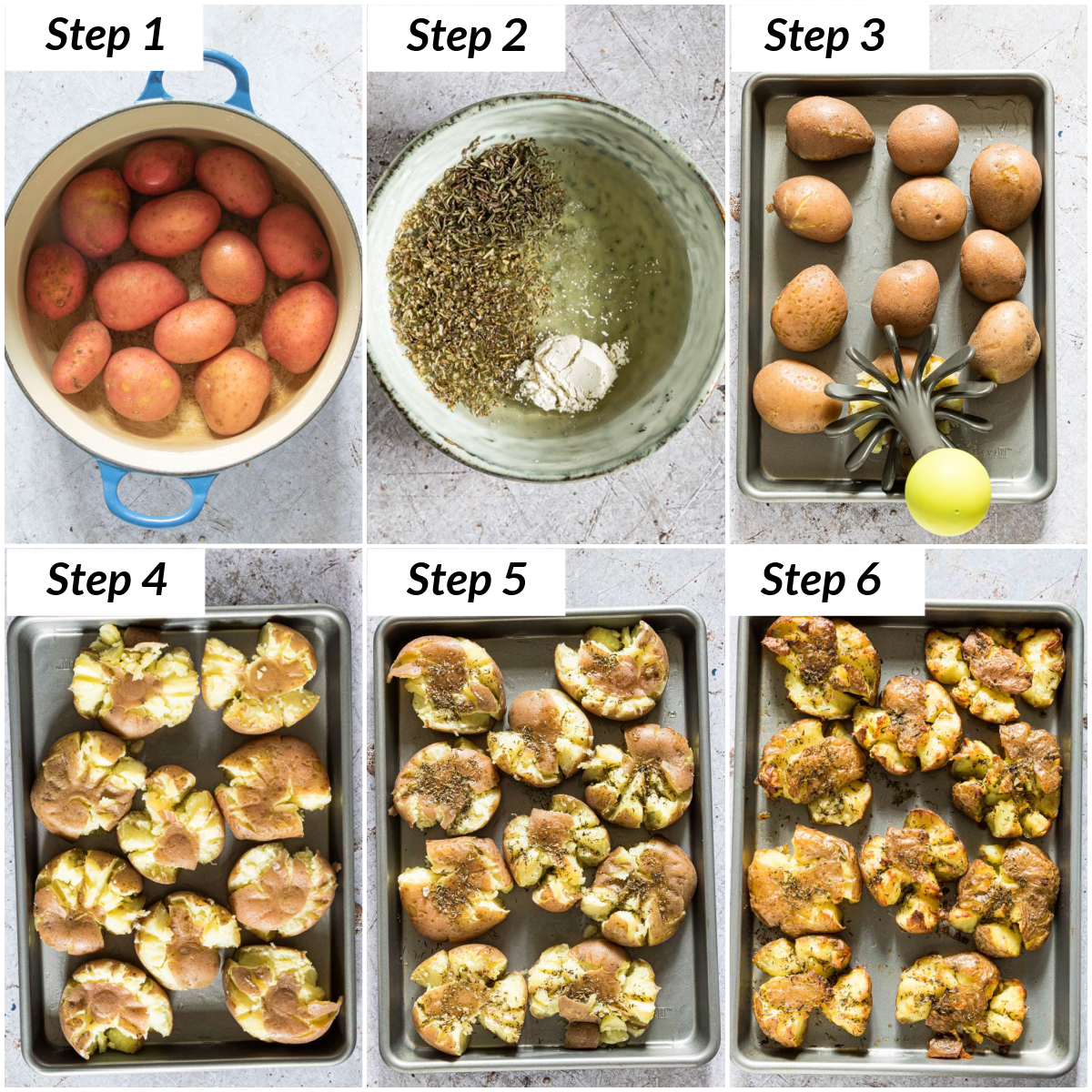 image collage showing the steps for making smashed potatoes