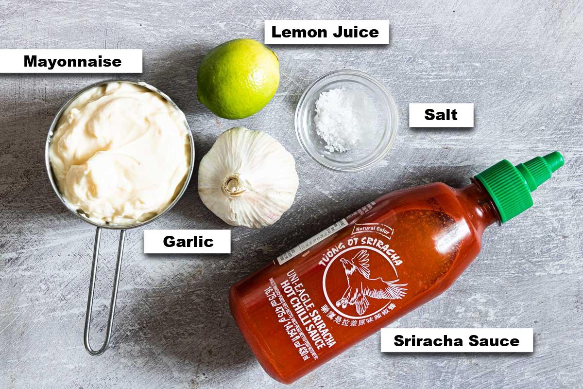 the ingredients needed for making sriracha aioli