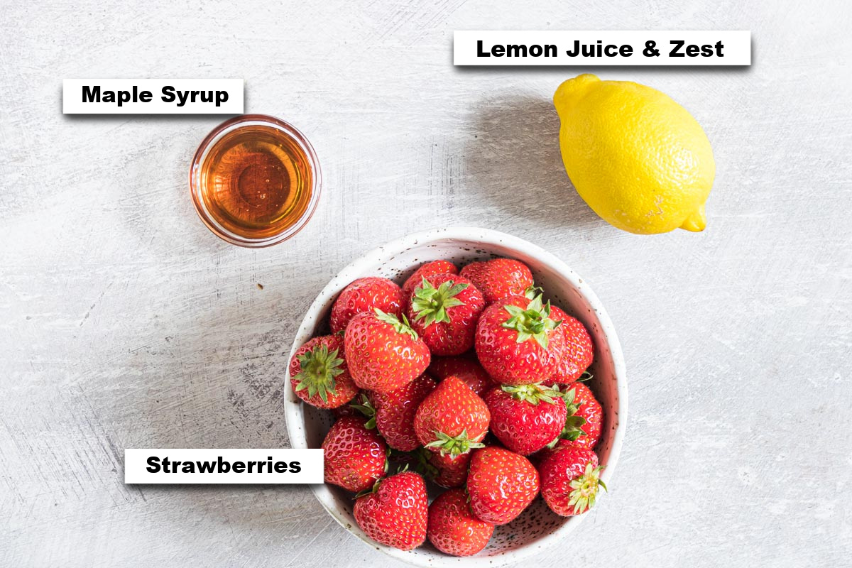 the ingredients needed for making strawberry compote