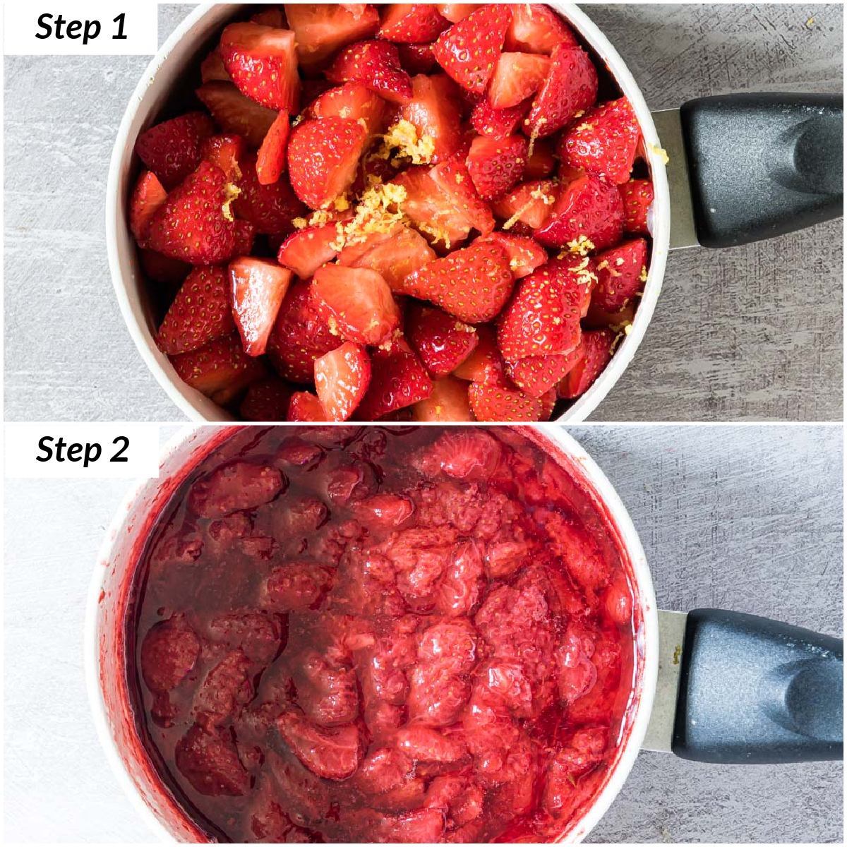 image collage showing the steps for how to makew strawberry compote on the stovetop