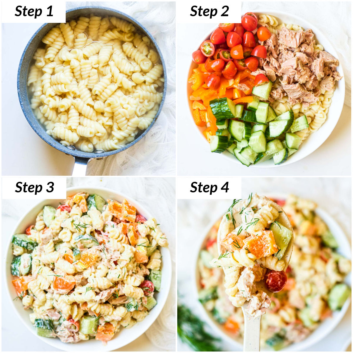 image collage showing the steps for making tuna pasta salad