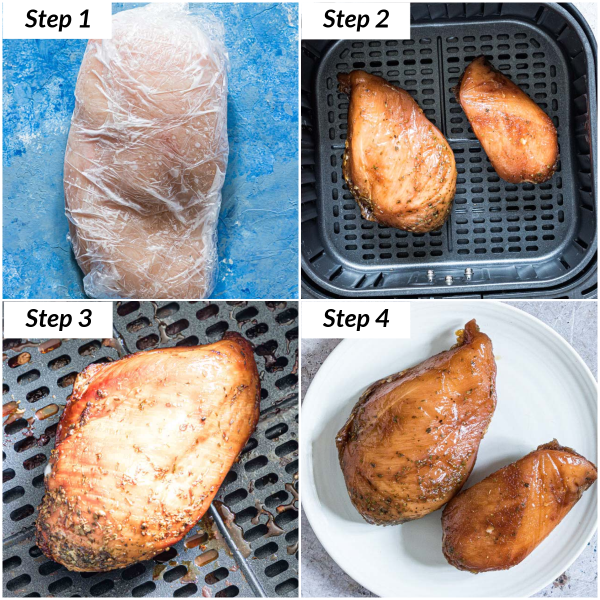 image collage showing how to make frozen chicken breast in air fryer