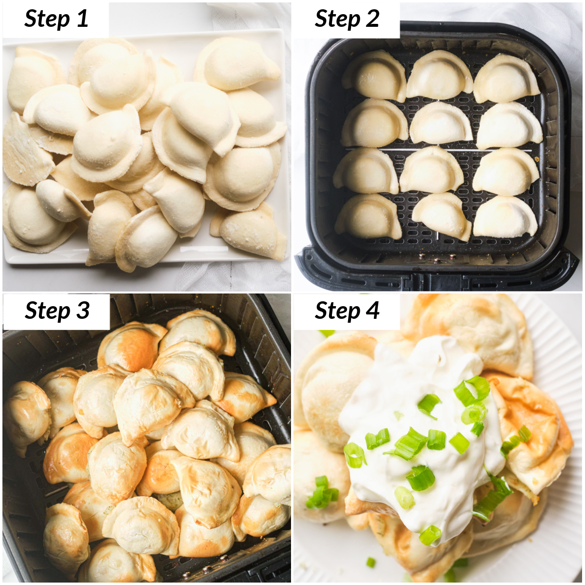 image collage showing the steps for making air fryer frozen pierogies