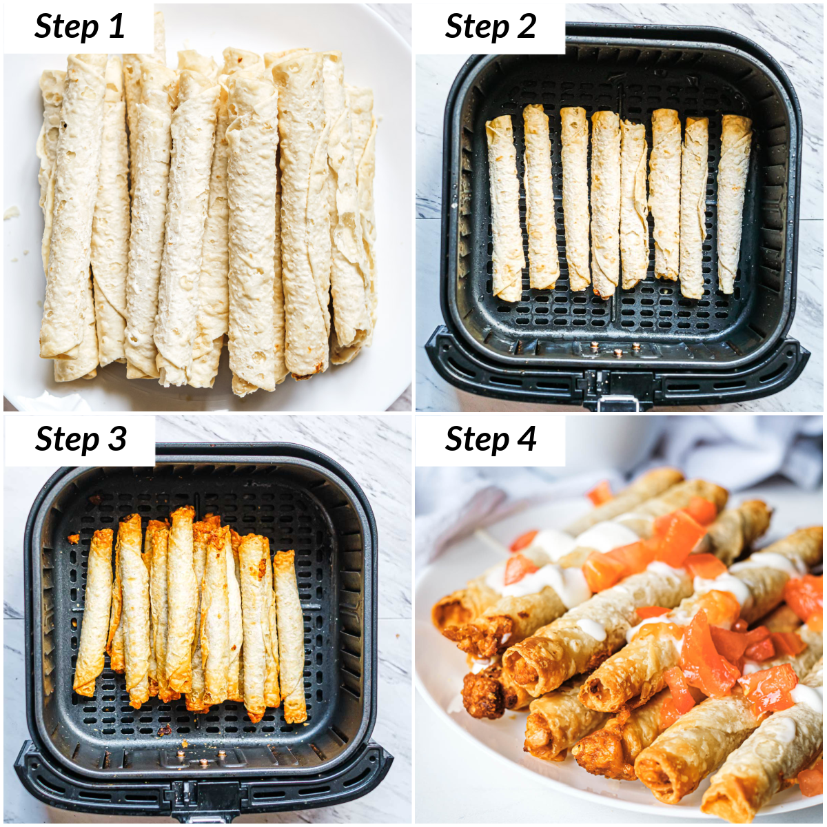 image collage showing the steps for making frozen taquitos in air fryer