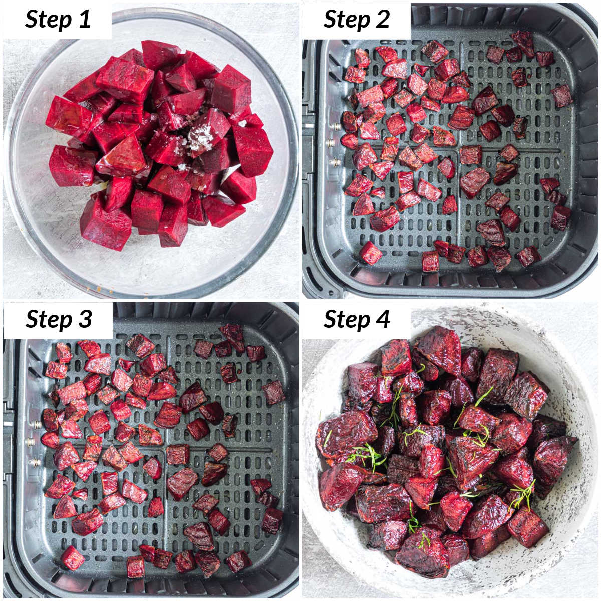 image collage showing the steps for making air fryer beets
