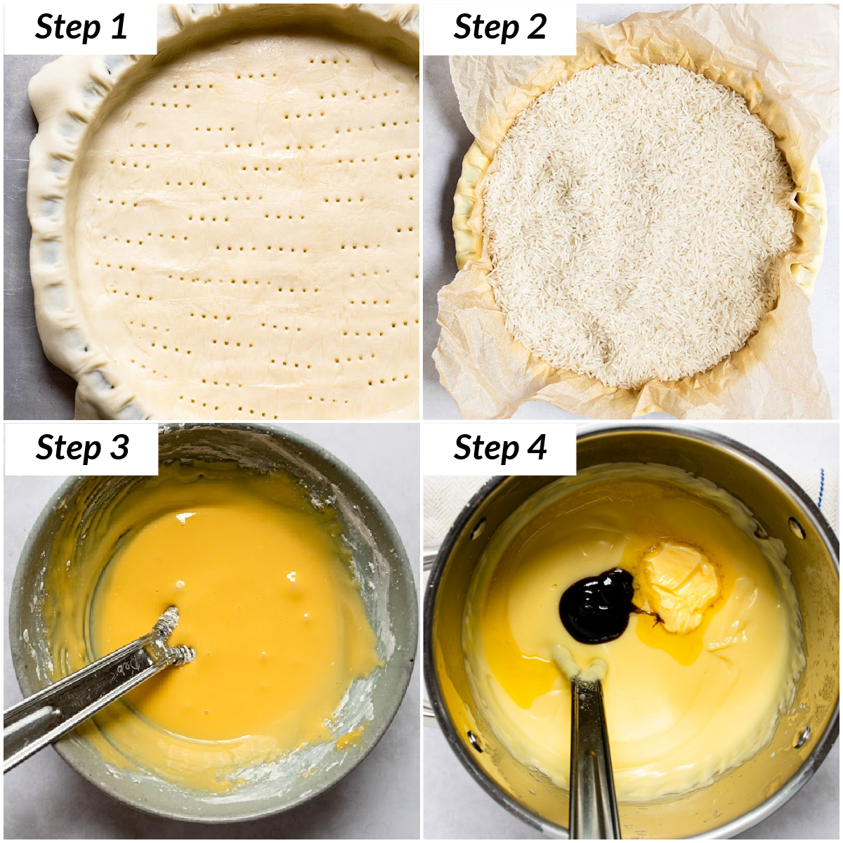 image collage showing the first four steps for making this banana cream pie recipe