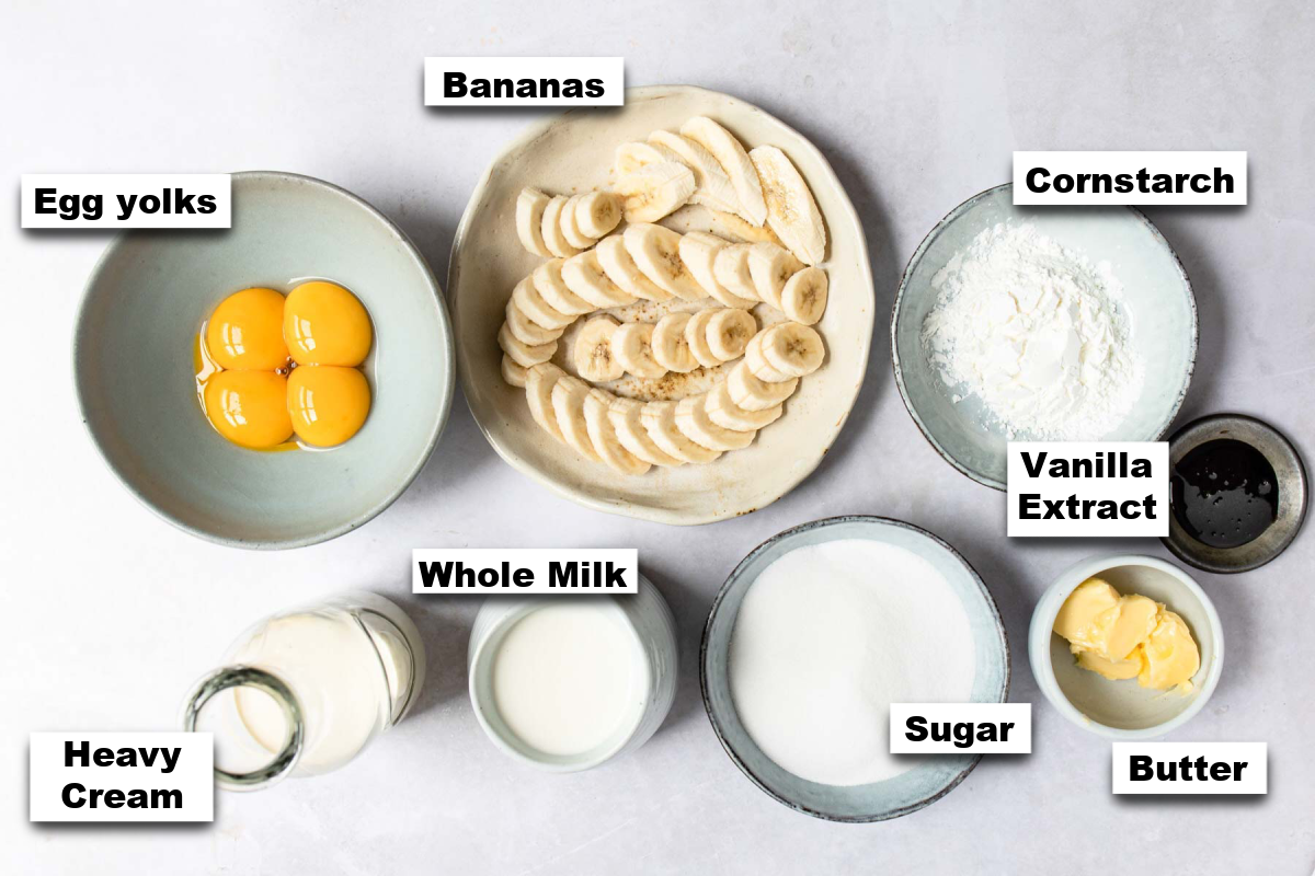 the ingredients needed for making this banana cream pie recipe