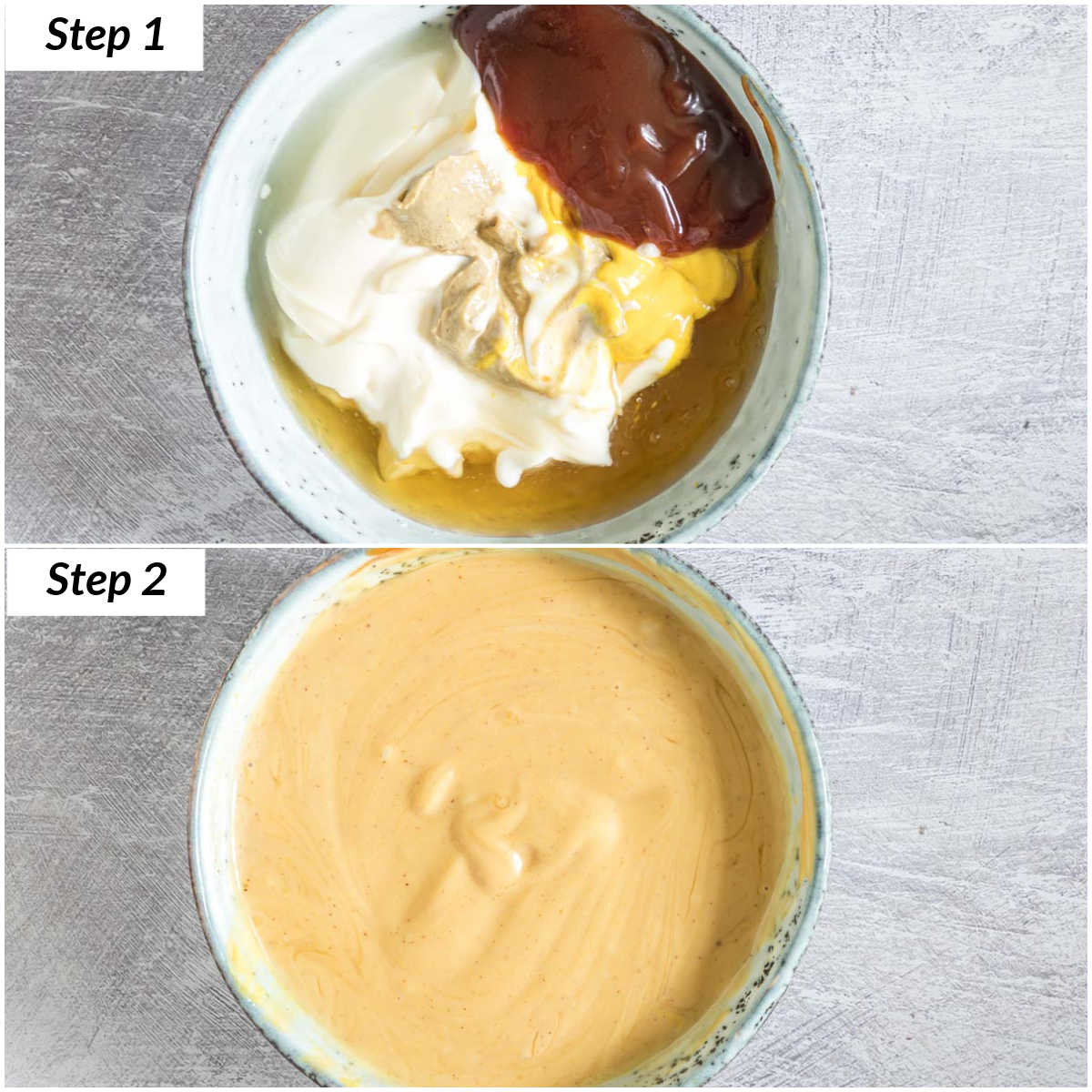 image collage showing the steps for making homemade chick fil a sauce