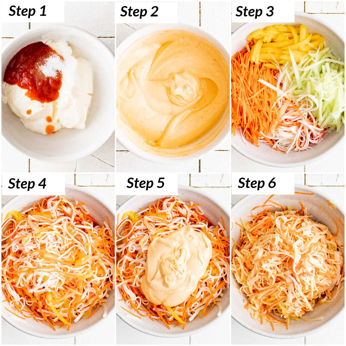 image collage showing the steps for making spicy kani salad recipe