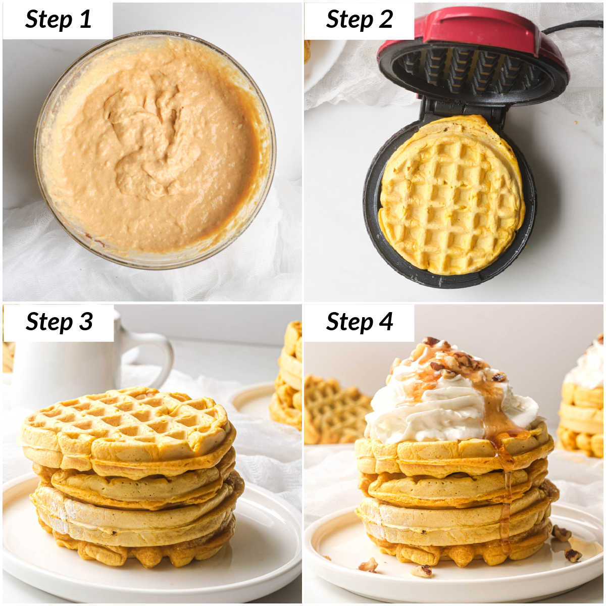 image collage showing the steps for making this pumpkin waffles recipe