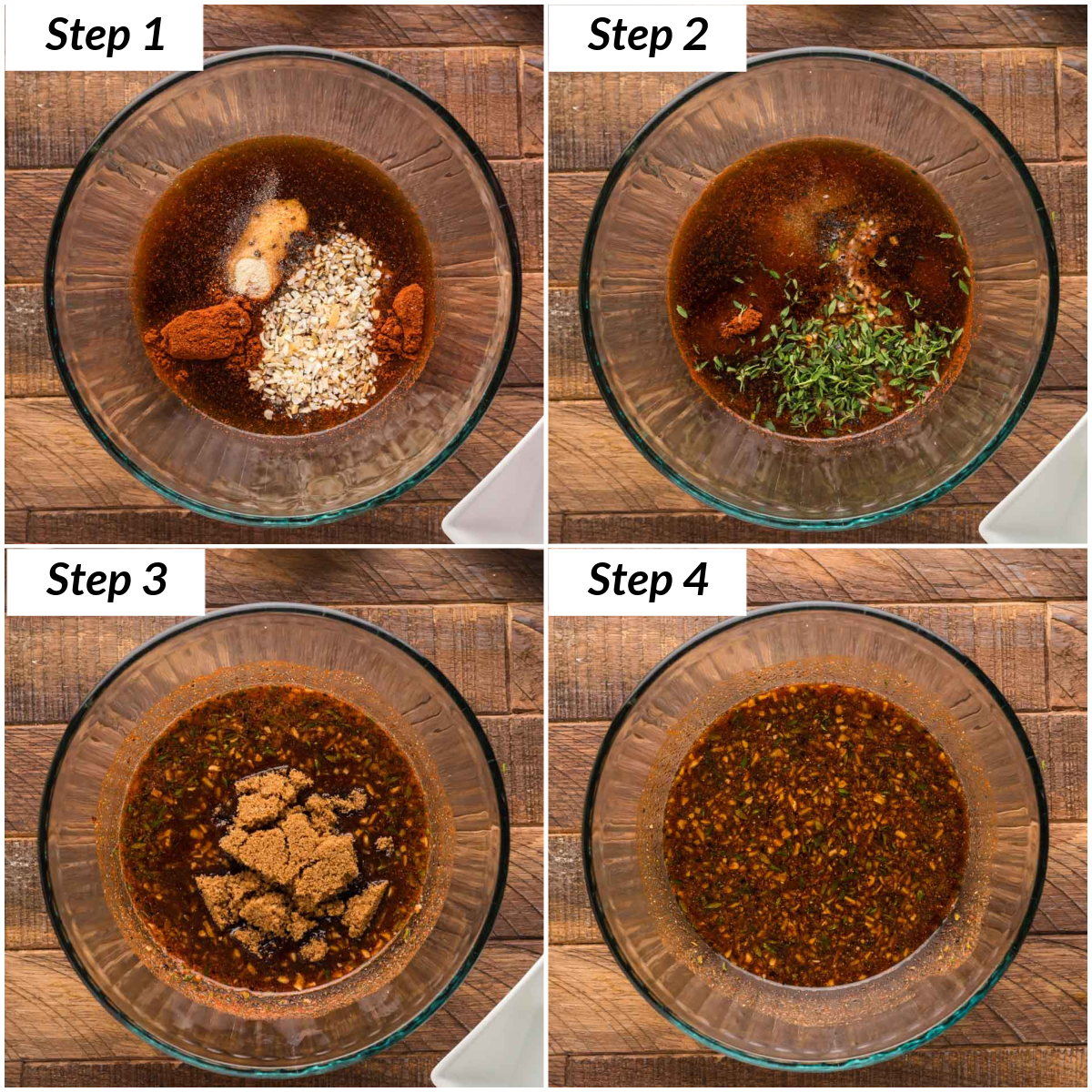 image collage showing the steps for making the smoked tenderloin marinade