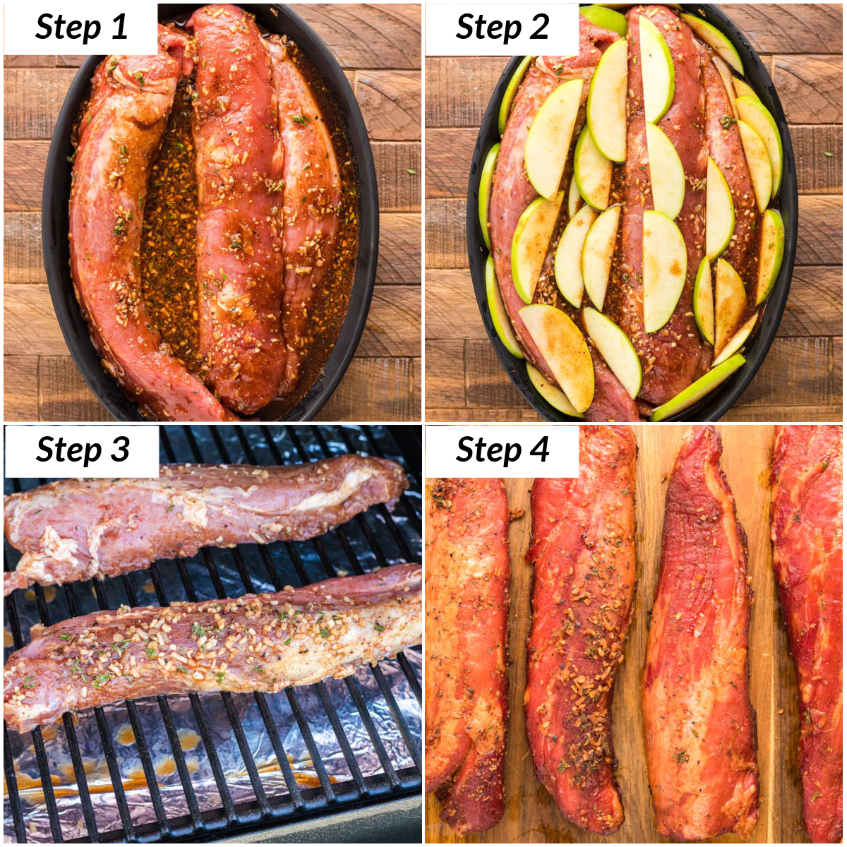 image collage showing the steps for smoking pork tenderloin
