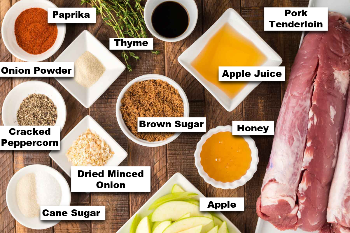 the ingredients for making smoked pork tenderloin