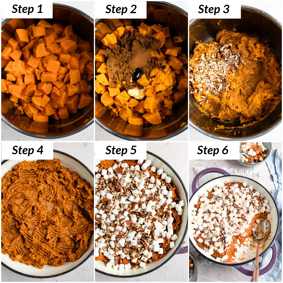 image collage showing the steps for making sweet potato casserole