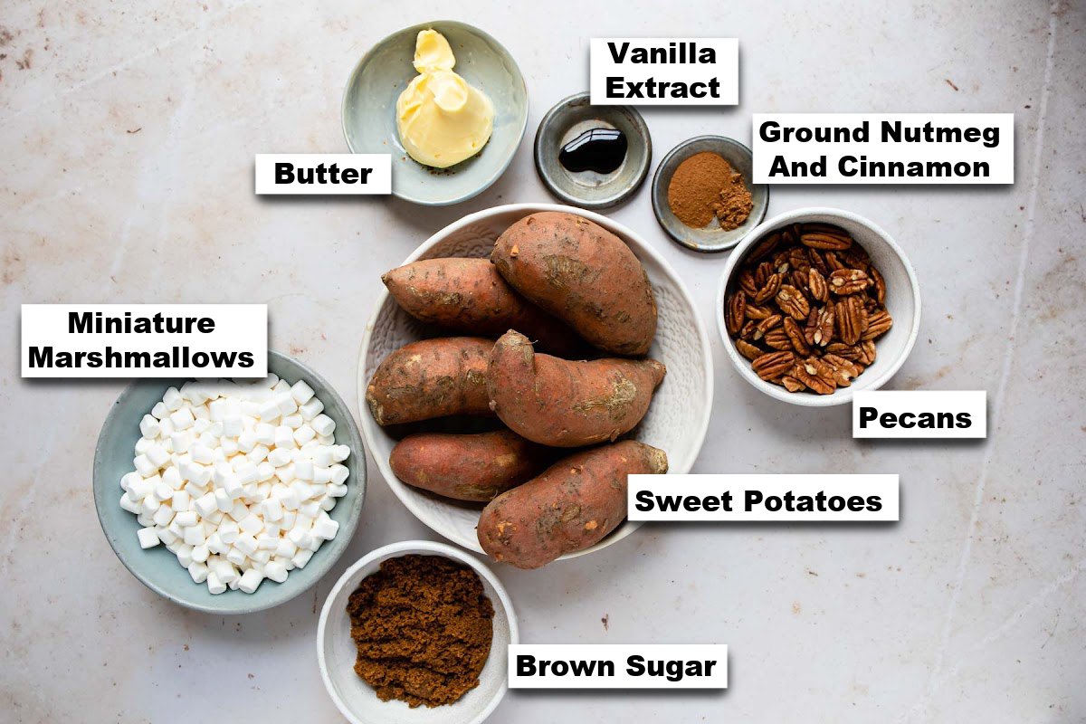 the ingredients needed for making sweet potato casserole