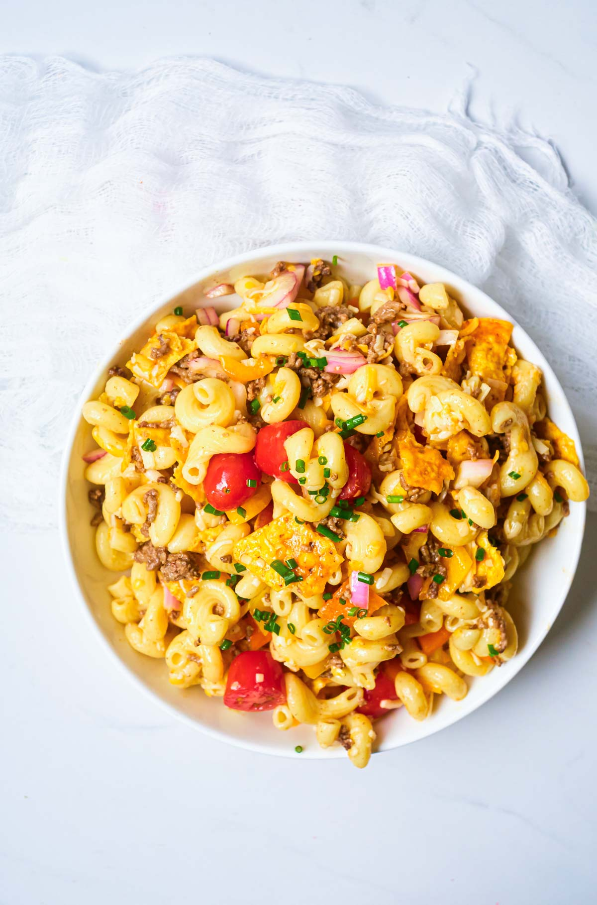 the finished taco pasta salad recipe ready to be served