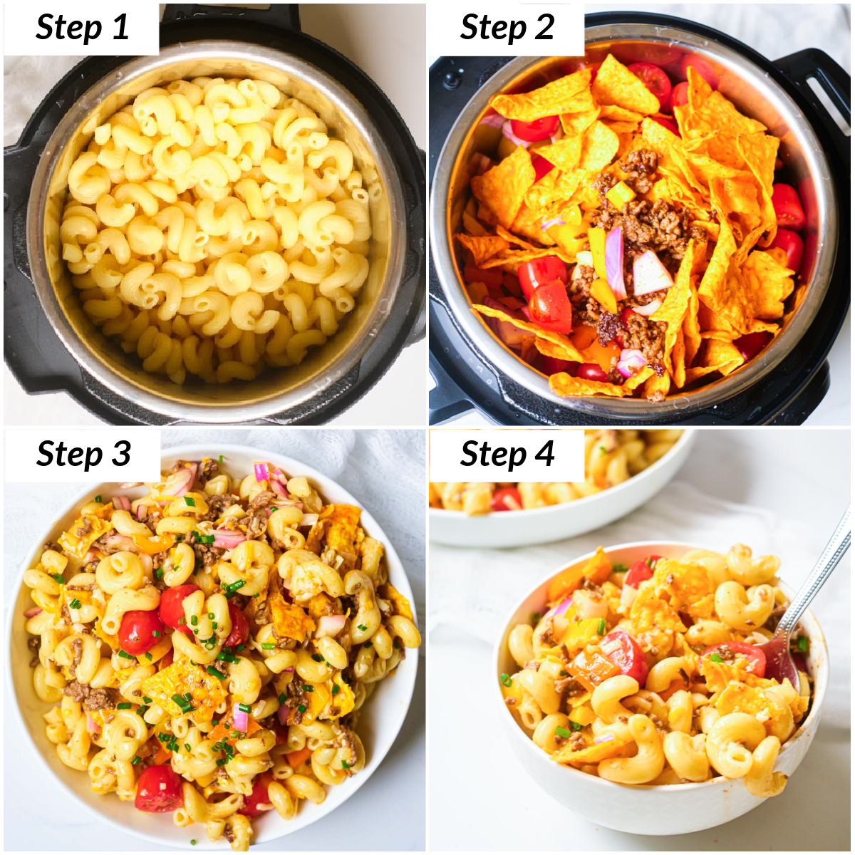 image collage showing the steps for making instant pot taco salad