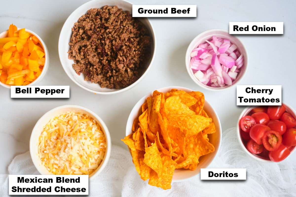 the ingredients needed for making taco pasta salad