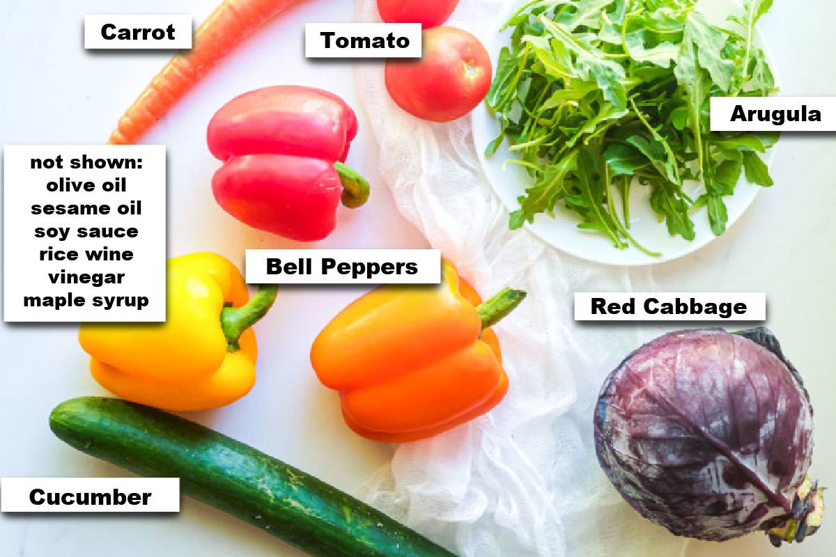 the ingredients needed for making chopped veggie salad