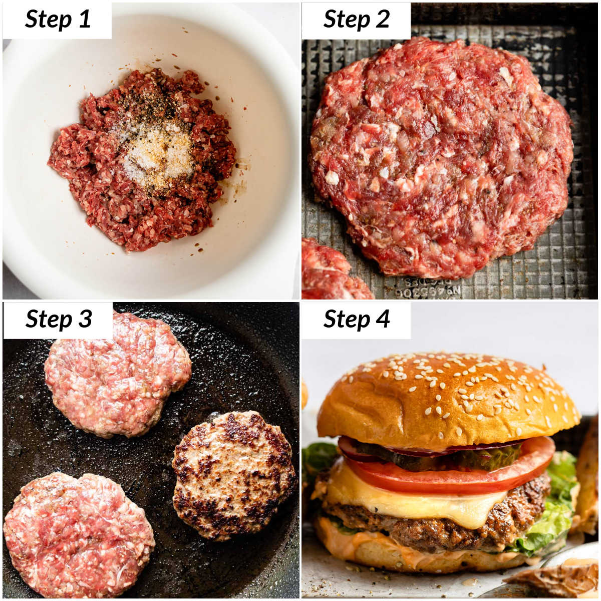 image collage showing the steps for making venison burgers