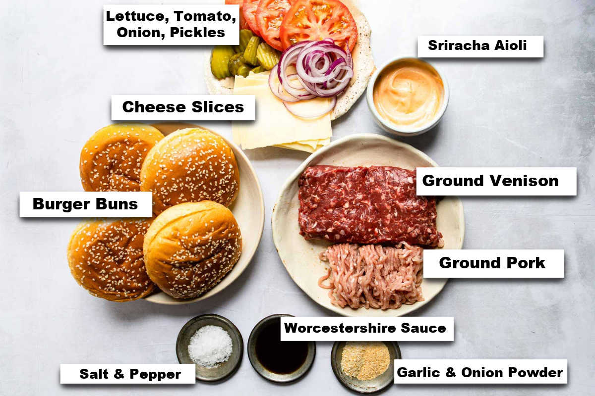 the ingredients needed for making this venison burgers ground venison recipe