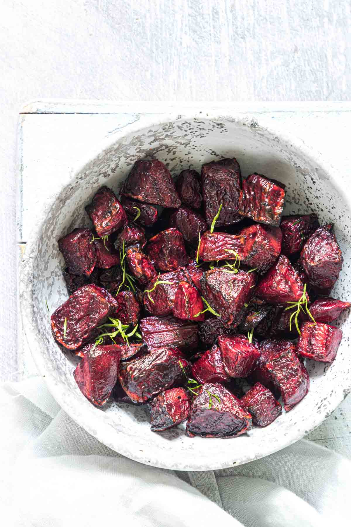 top down view of a bowl filled with air fryer beets